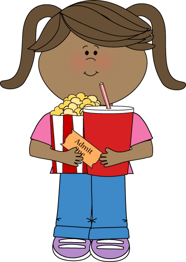 Movie girl popcorn drink ticket