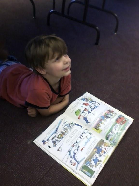 Boy at book sale 2013