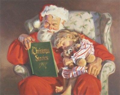 Santa reading Christmas stories
