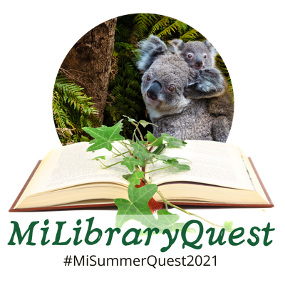 MiLibraryQuest logo with koalas, an open book, and the text #MiLibraryQuest2021